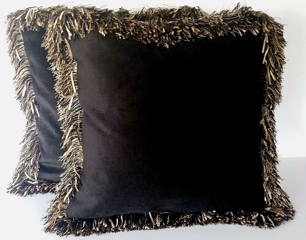 Large Solid Black Velvet Decorative Throw Pillow With Long