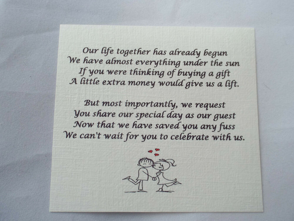 50 Small Wedding Gift Poem Cards Asking For Money Cash