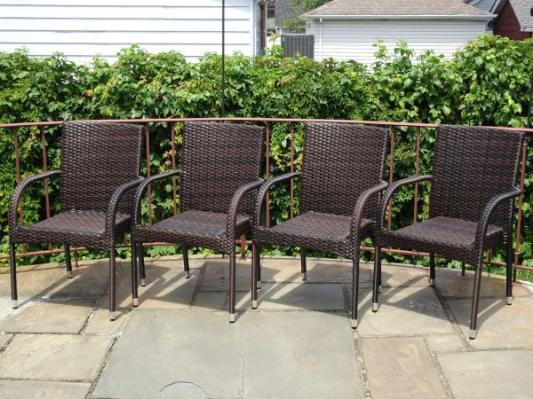 resin wicker patio furniture sets Set of 4 Patio Resin Outdoor Garden Deck Wicker Dining Arm