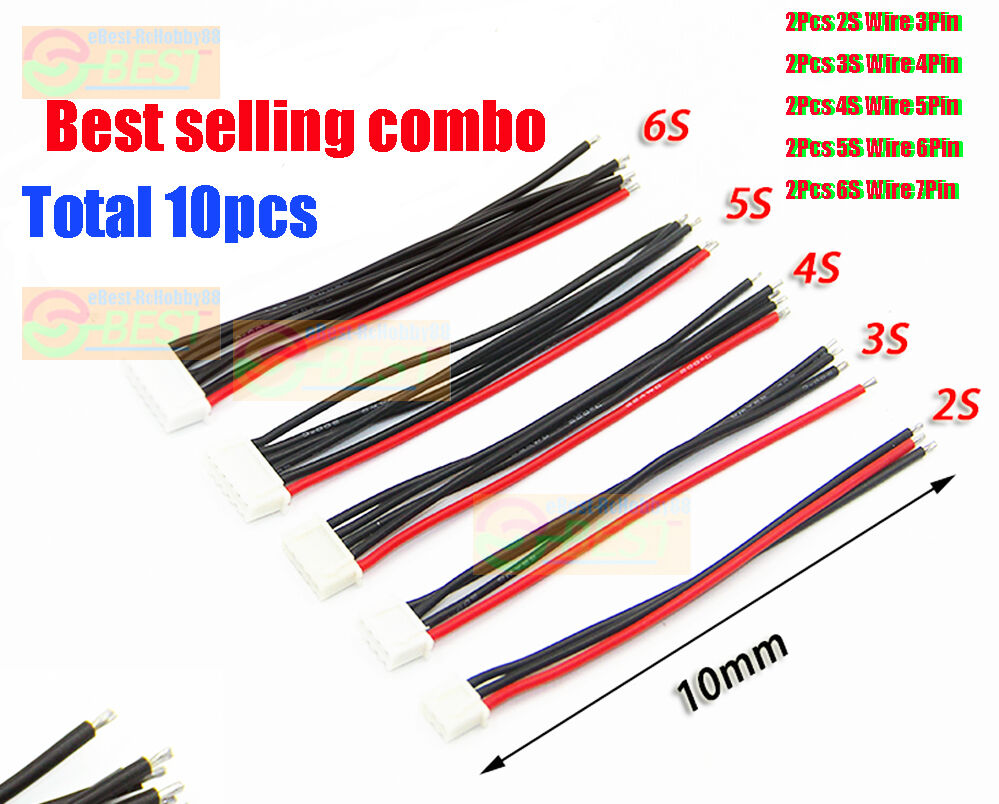10Pcs/Lot JST XH Connector 2-6S Balance Charger Silicone