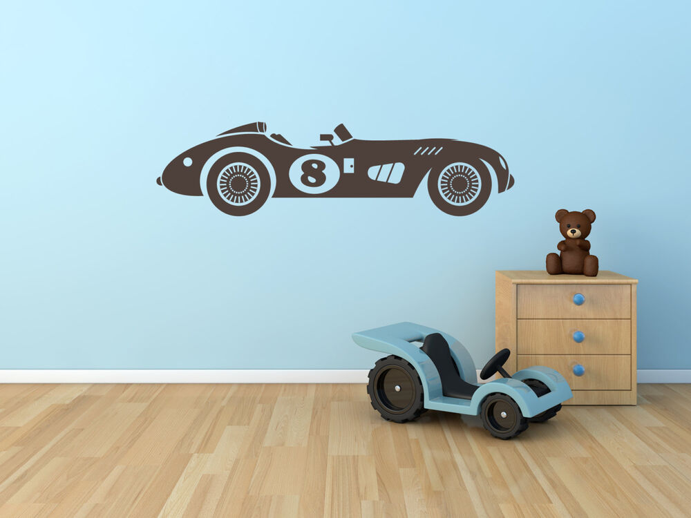 VINTAGE RACE CAR Wall Decal Boys Childs Room Vinyl Sticker Mural Home Decor EBay