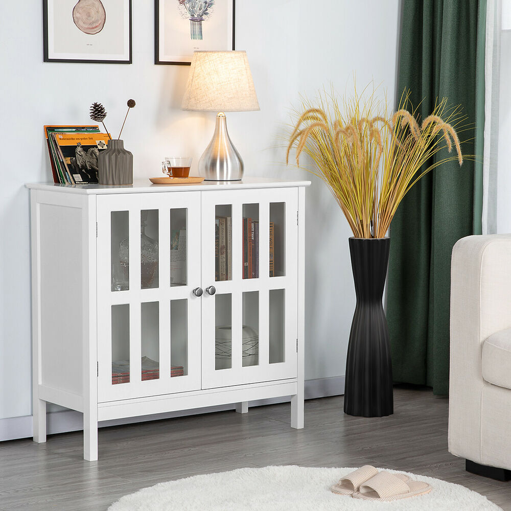 Storage Buffet Cabinet Glass Door Sideboard Console Table