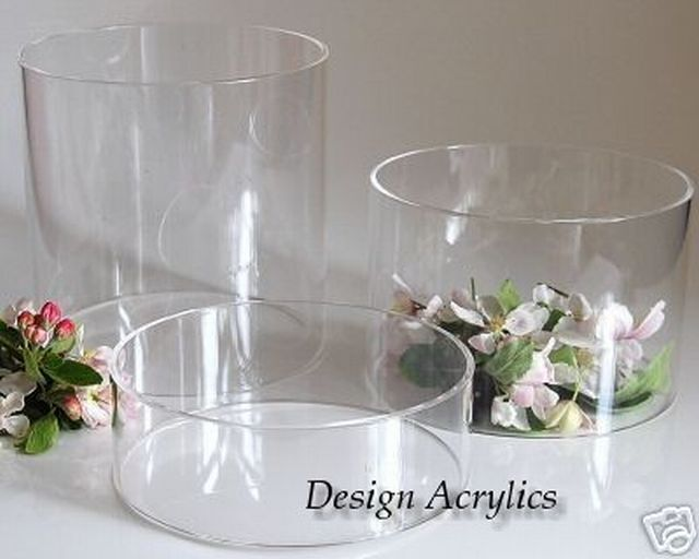 3 LARGE CRYSTAL CLEAR ACRYLIC TUBE CAKE RISER STANDS EBay