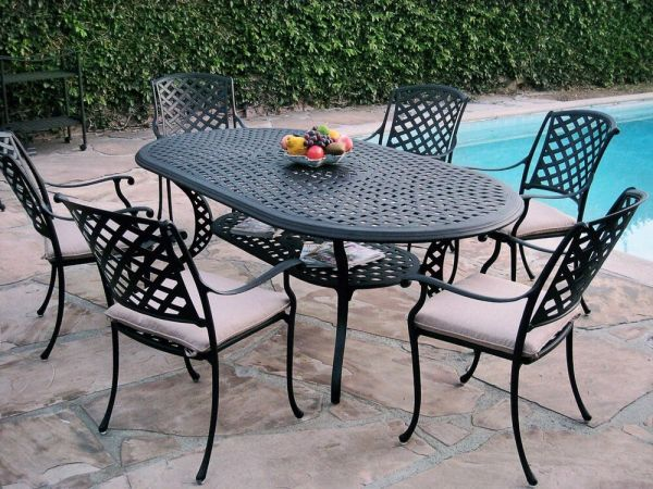 outdoor patio dining set furniture 7 Piece Outdoor Patio Furniture Cast Aluminum Dining Set