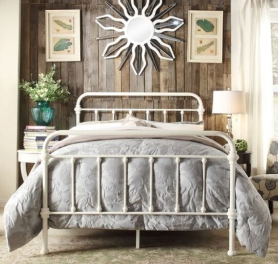 KING Antique Style White Victorian Iron Metal Beds Bed