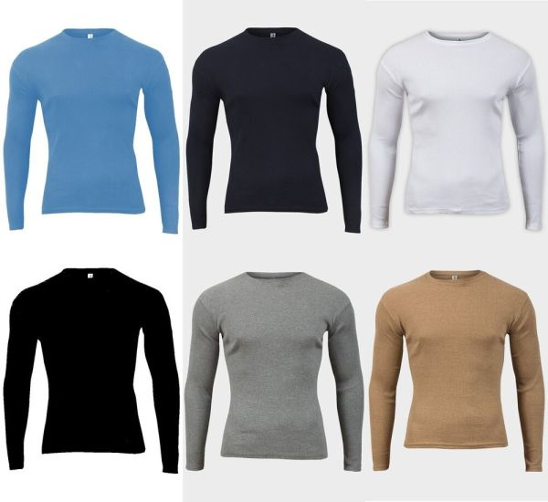 MENS RIBBED COTTON TOP ROUND NECK LONG SLEEVE JERSEY T ...