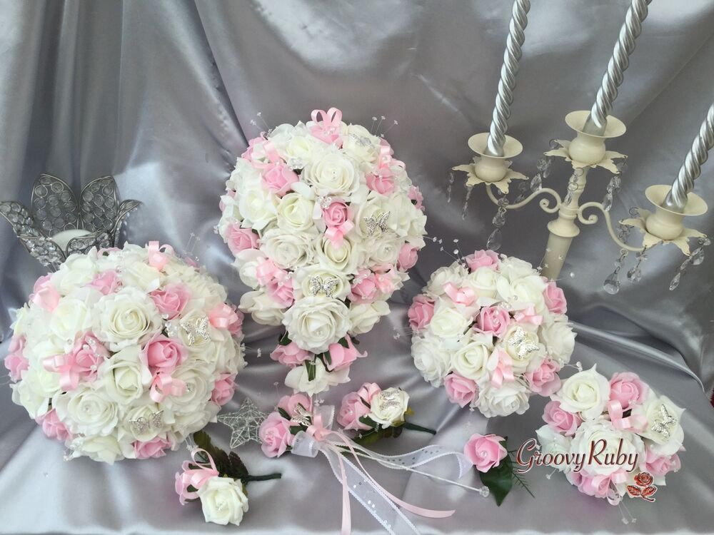 Wedding Flowers Butterfly Baby Pink, Crystal Bouquet