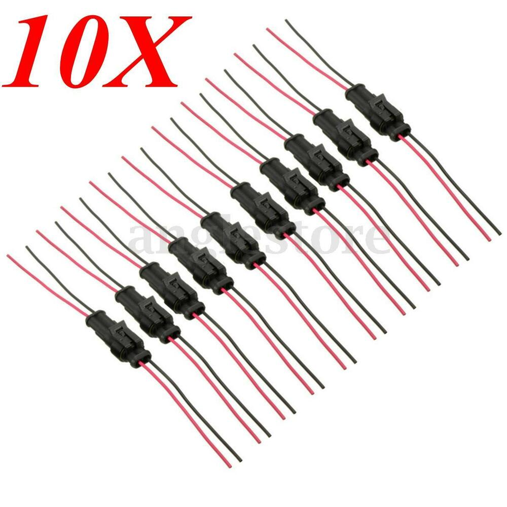 10pcs 2pins Way Auto Waterproof Sealed Electrical