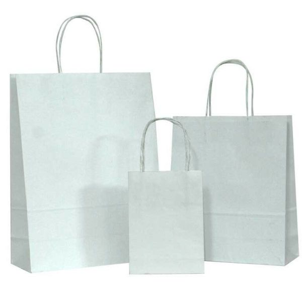 100 White Small Kraft Paper Bags, Shopping handles Party ...