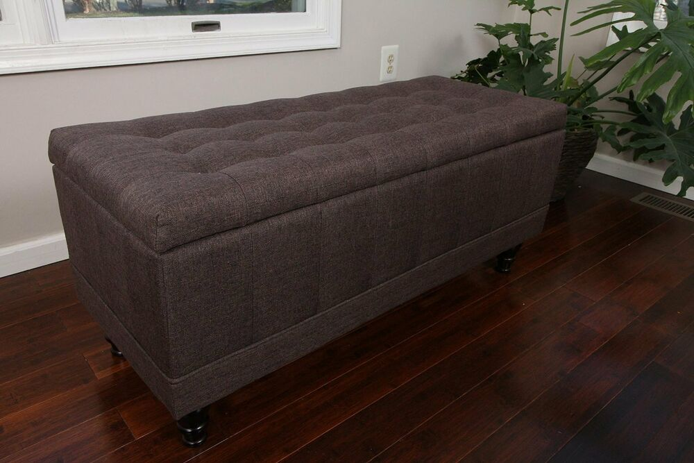Large Tufted Storage Ottoman Chocolate Brown Fabric Bench