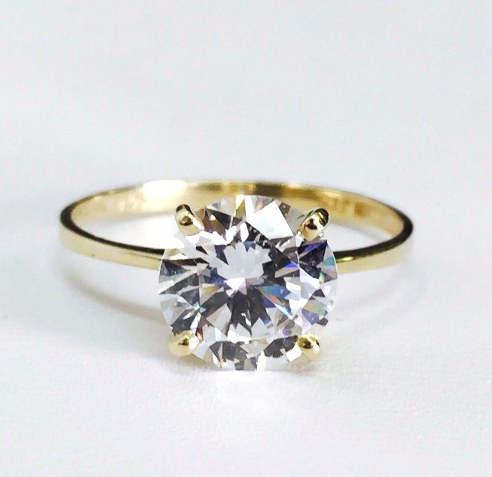 14K Solid Yellow Gold Solitaire CZ Engagement Ring 8mm