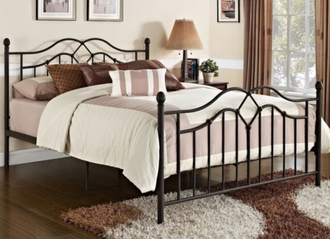 Queen Size Bronze Metal Poster Bed Headboard Footboard