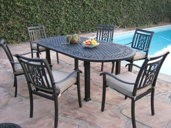 outdoor patio 7 piece dining set Heaven Outdoor Patio 7 Piece Cast Aluminum Dining Set O | eBay