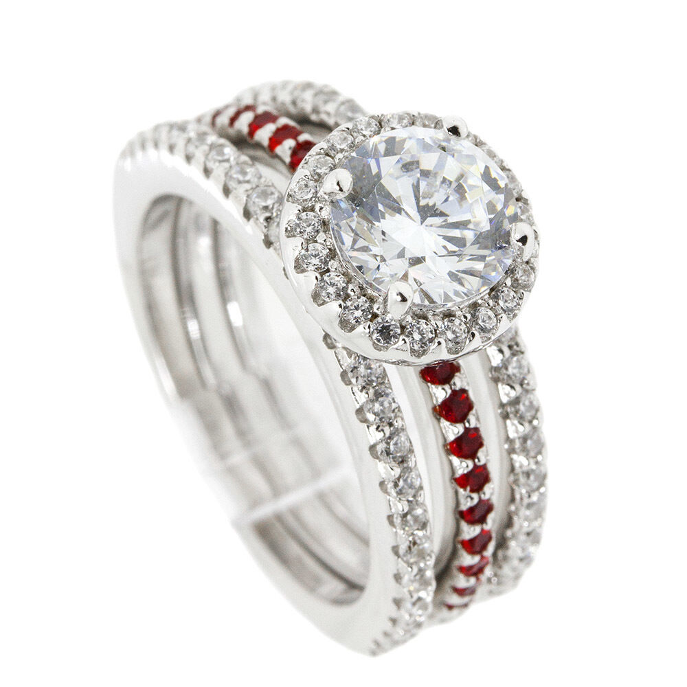Thin Red Line Engagement 3 Ring Set Sterling 65MM Silver