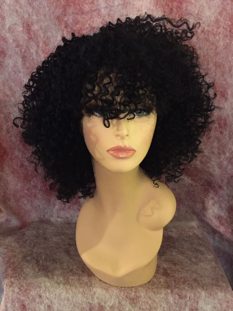 100 Human Hair Blend Curly Deep Part Lace Front Wig EBay