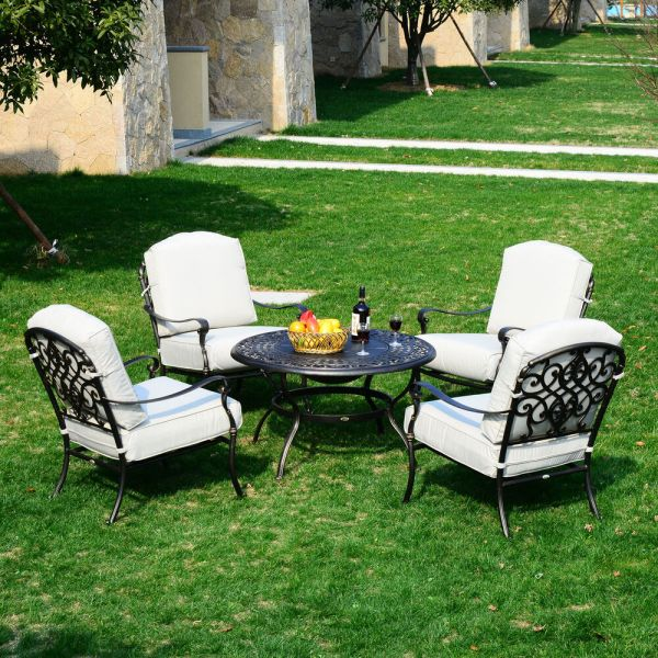 outdoor patio furniture with fire pit 5pc Outdoor Patio Furniture Set Cast Aluminum Fire Pit