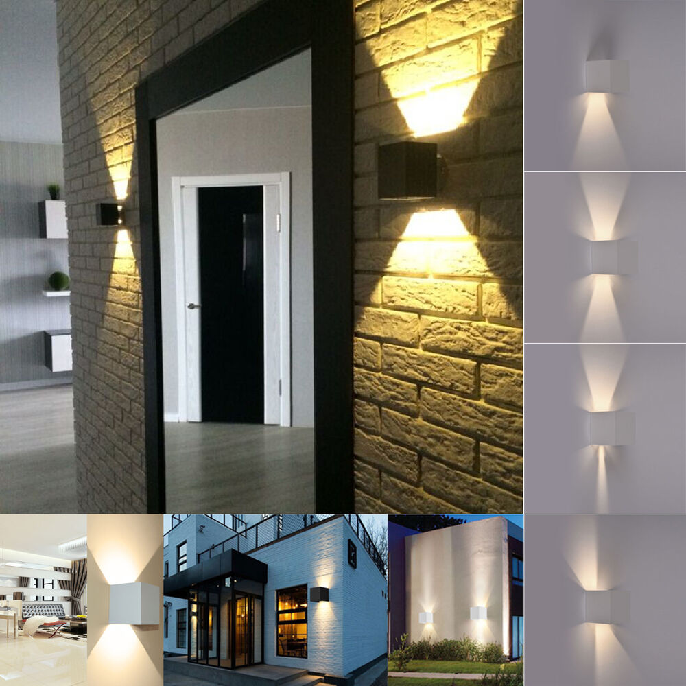 Modern 7W 2LED Up Down Indoor Outdoor Wall Light Lamp ... on Modern Indoor Wall Sconce id=28404