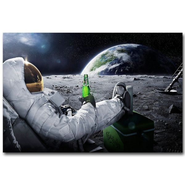 Astronaut on the Moon with Beer Funny Art Silk Poster ...