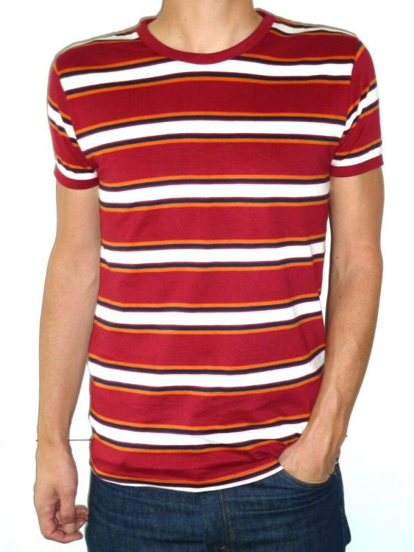 MENS stripes tee t-shirt red white indie mod beach boys ...