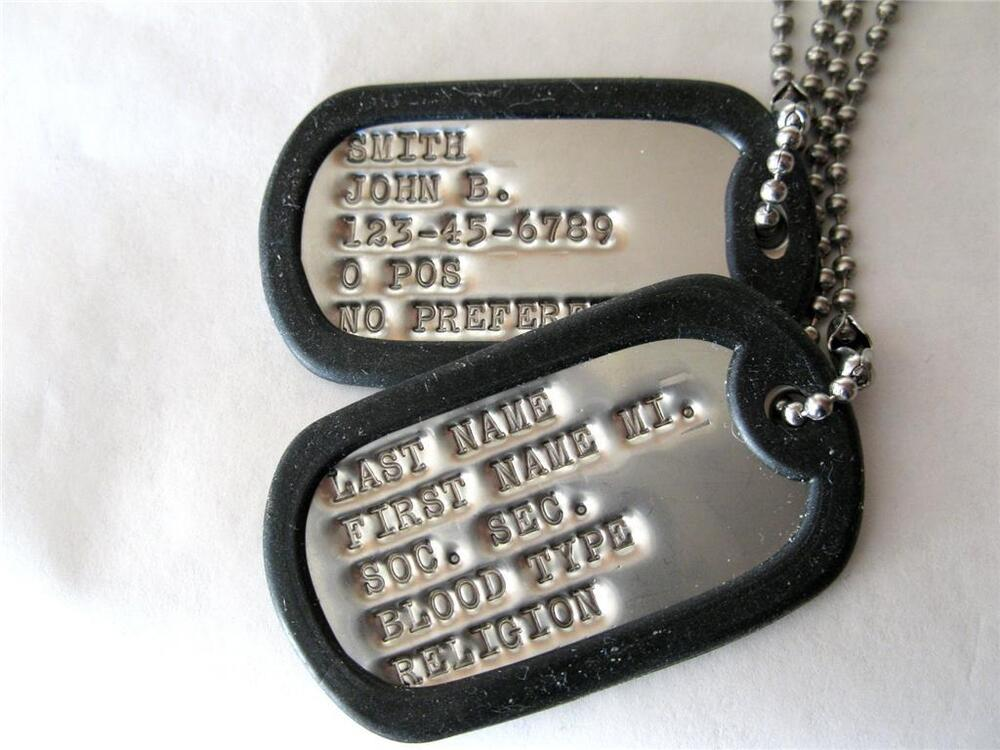 DOG TAGS MILITARY CUSTOM ARMY, UP TO 18 SPACES!! 2-EA TAGS