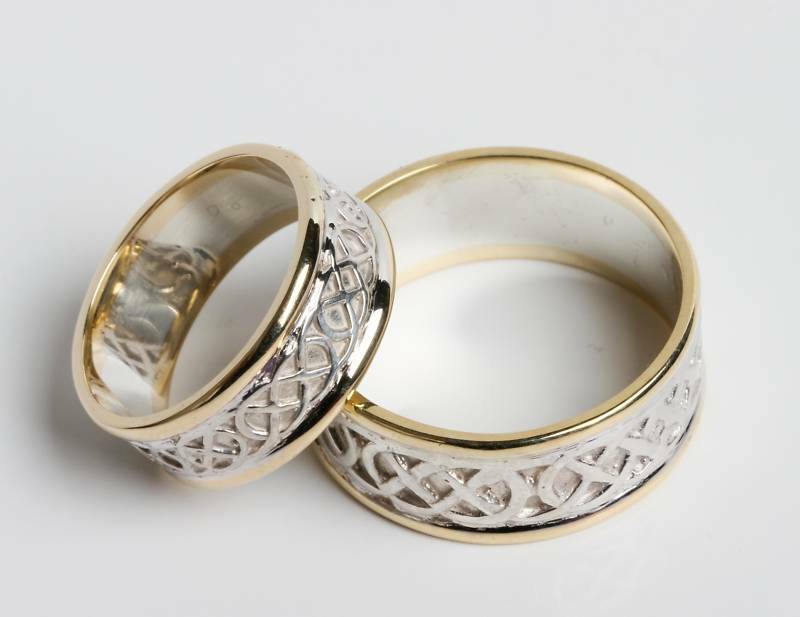 Pair Set Of Irish Handcrafted 14k Gold And Sterling Silver