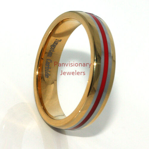 Thin Red Line 6mm Tungsten Ring Wedding Band 18K Gold IP W