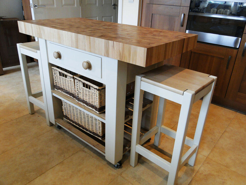 Butchers Block Kitchen Island With Double Overhang