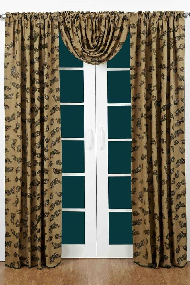 Pine Cone Burlap Curtain Panel Set By Victorian Heart 84 X 40 Panels EBay