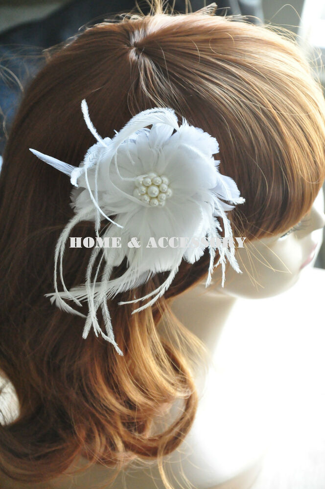 White Flower Feather Bridal Fascinator Wedding Hair Clip