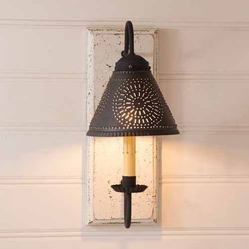 Vintage White Crestwood Wood Wall Sconce with Tin Shade ... on Wood Wall Sconces id=99362