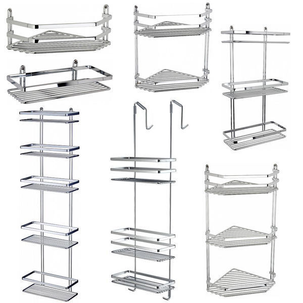 chrome satina hanging rectangle corner shower caddy bathroom shelf