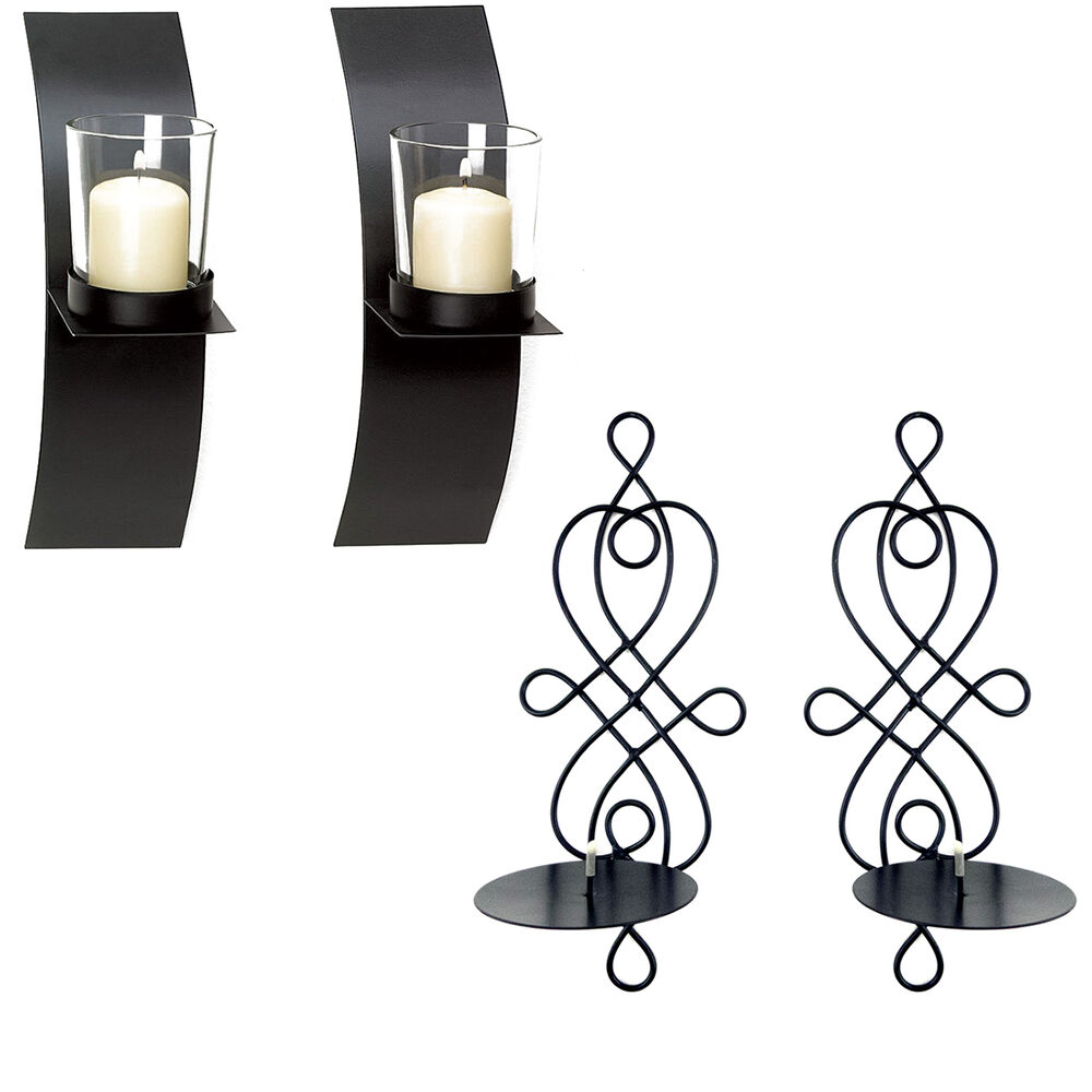 Modern Art Candle Holder Wall Sconce Display Black Wire ... on Wall Sconces Candle Holders id=51529