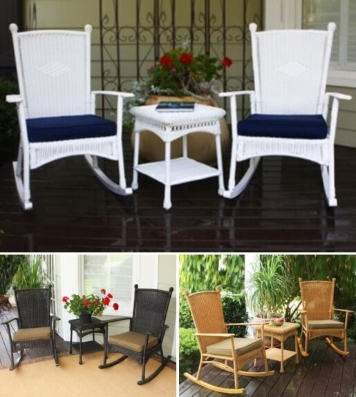 resin wicker patio furniture sets 3 Pc Rocker Resin Wicker Patio Set Chair Table Outdoor