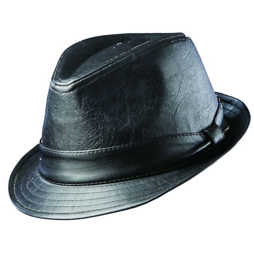 Dorfman Pacific Mens Dress Hat Fedora Faux Micro Leather