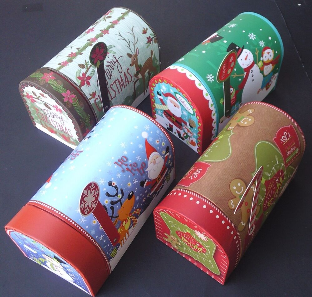 CHRISTMAS HOLIDAY GIFT BOXES MAILBOXES W FLAGS Decoupage