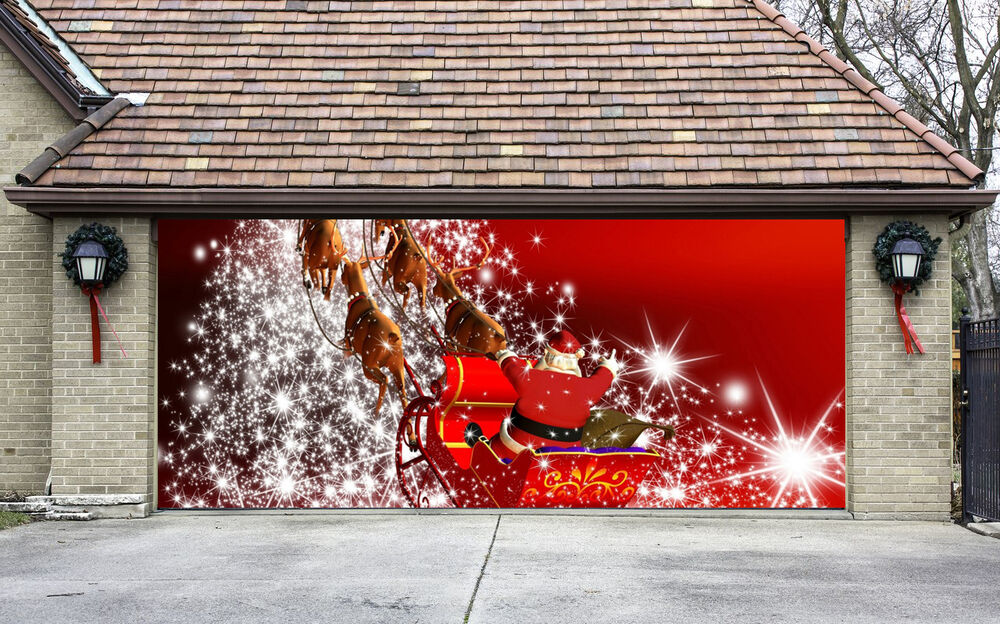 Christmas Garage Door Covers 3D Banners Outside House ... on Garage Decoration  id=17120