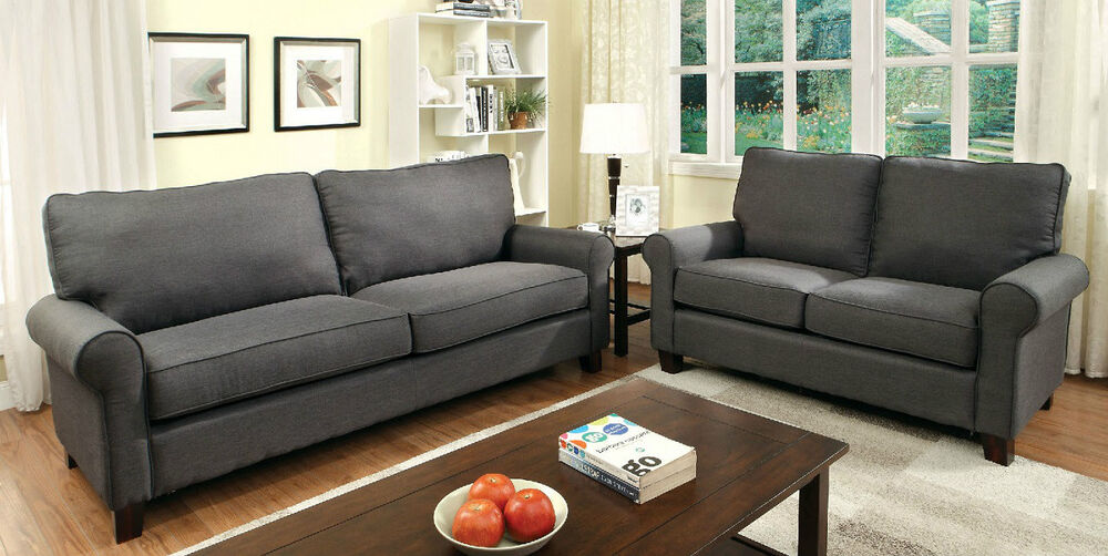 Transitional Gray Flax Fabric 2Pc Rolled Arms Sofa Set