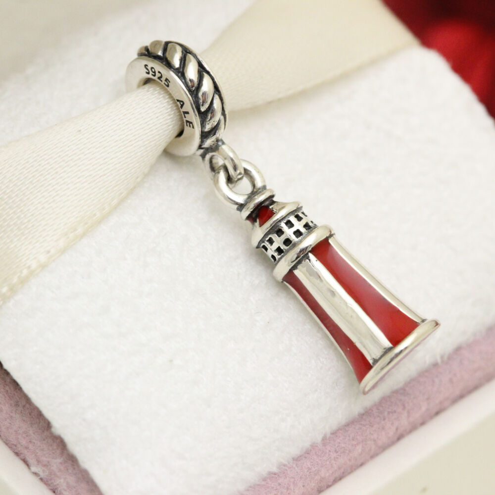 New Authentic Pandora Silver Lighthouse Dangle Charm 791137EN42 EBay