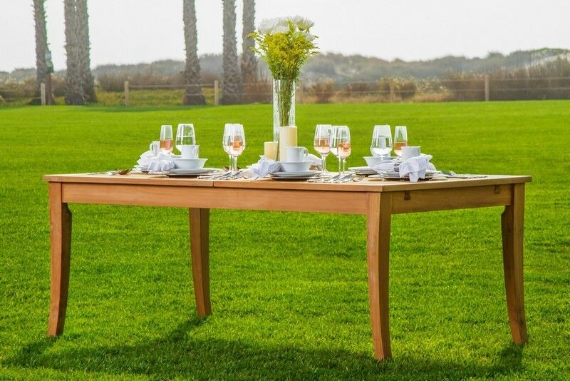 "9-Piece Outdoor Teak Dining Set: 122"" XL Rectangle Table"