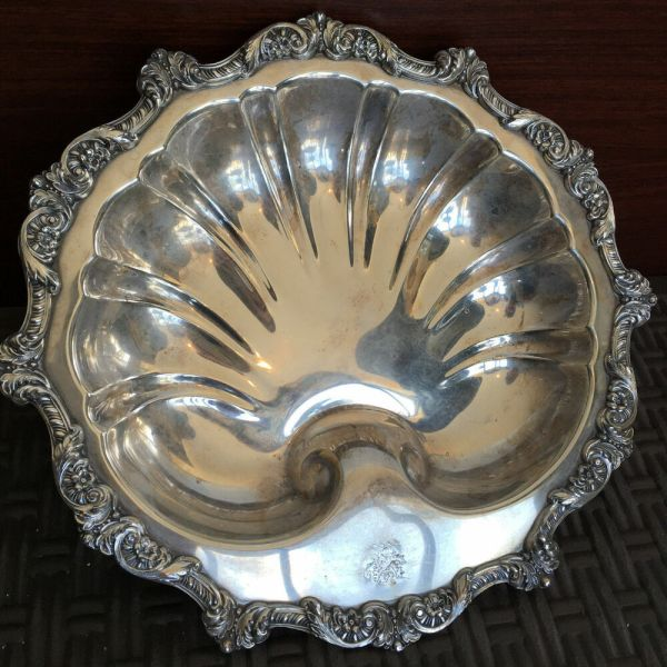 Antique Silver Plated Tray Sea Shell Old English by Poole ...