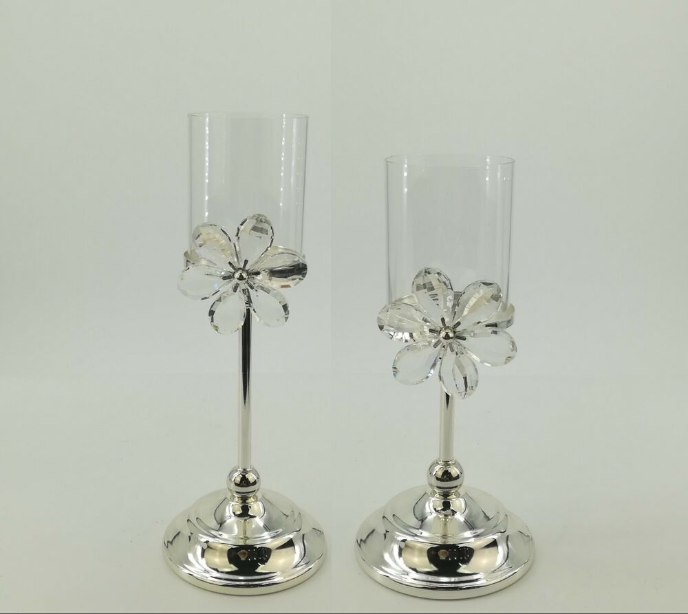 SET/2 Elegant SILVER Crystal Flower Pillar Candle Holder ... on Decorative Wall Sconces Candle Holders Centerpieces Ebay id=54463