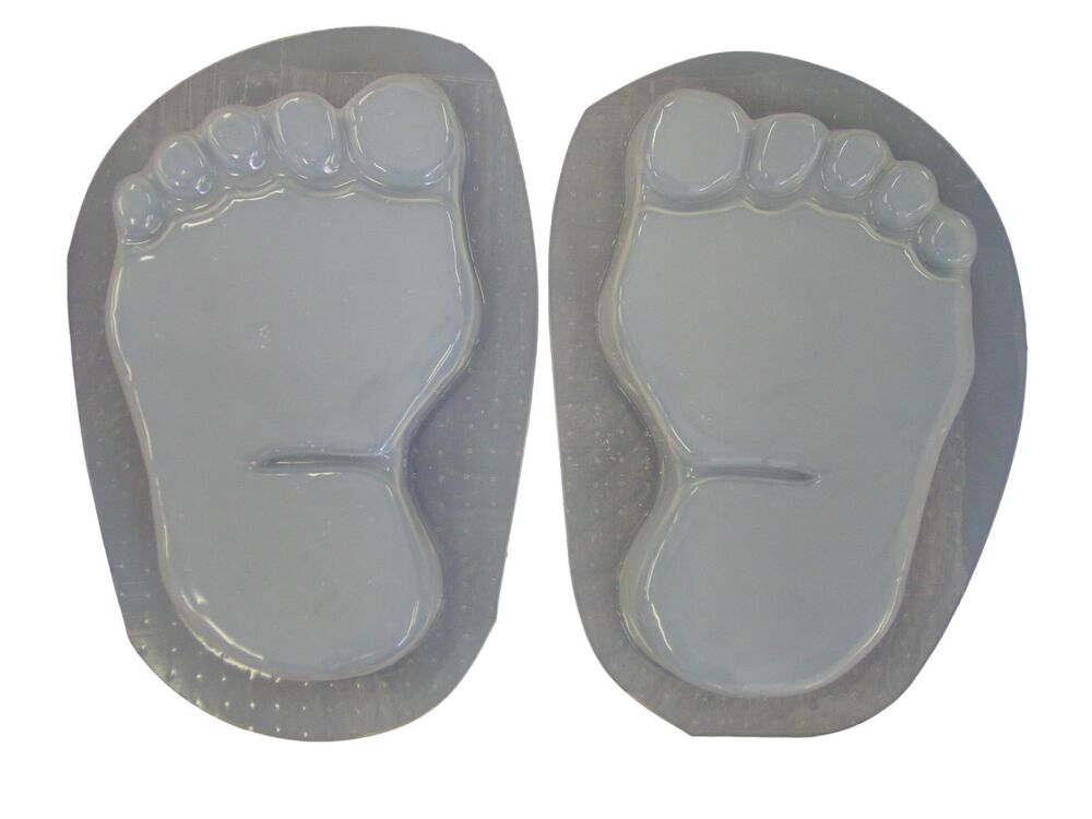 Bare Feet Footprints Concrete Or Plaster Stepping Stone