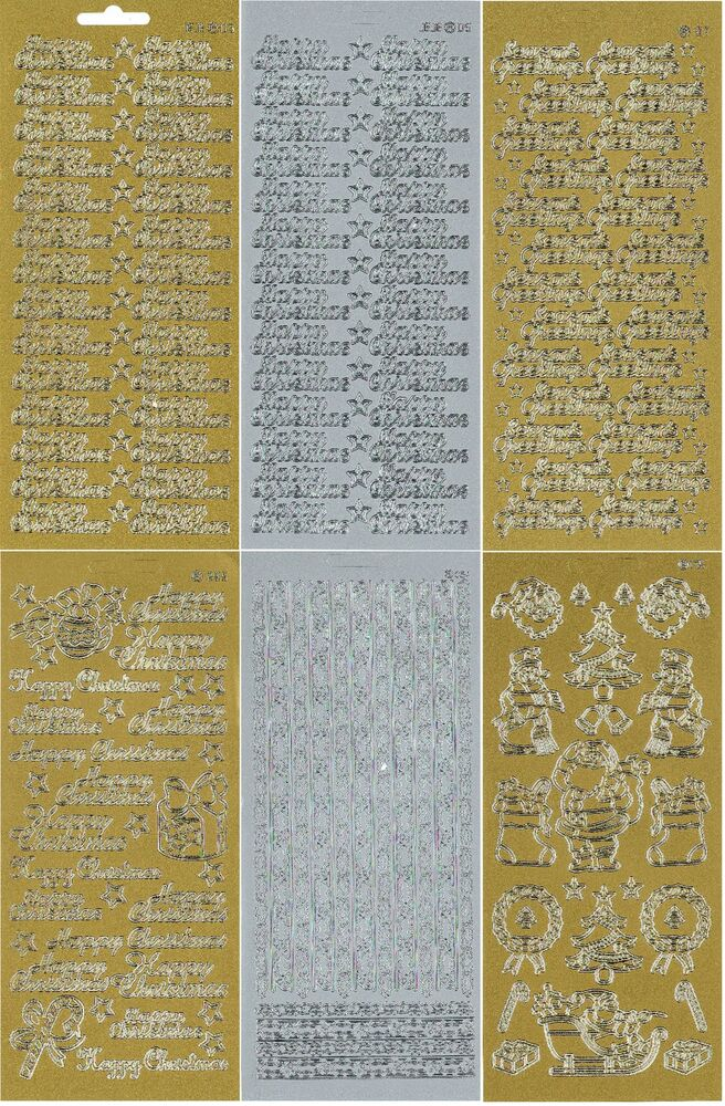 CHRISTMAS METALLIC GOLD SILVER PEEL OFFS TEXT Amp GRAPHIC