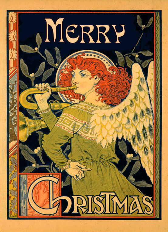 Merry Christmas Angel Music Fine Vintage Poster Repro FREE