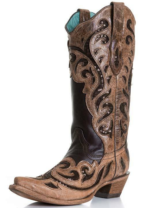 LADIES CORRAL COWGIRL BOOTS VINTAGE CHOCOLATE INLAY LASER