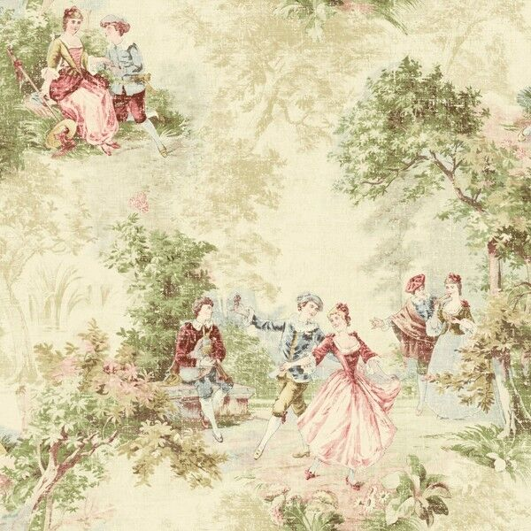 Wallpaper Designer French Toile Faux Tapestry Green Blue
