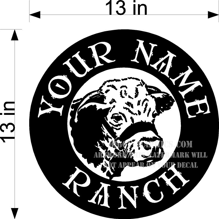 CUSTOM VINYL DECAL YOUR NAME RANCH CATTLE COW HEAD EBay