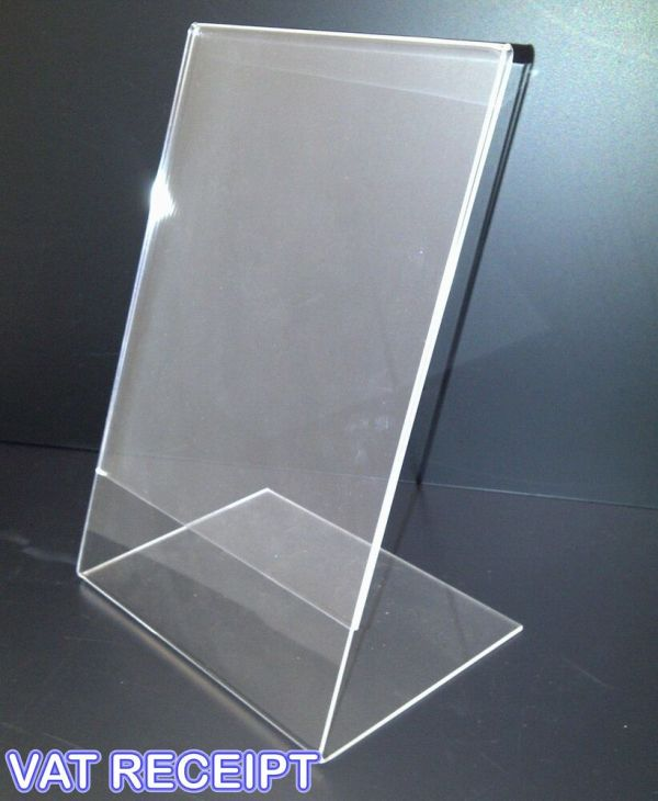 5 X A4 PORTRAIT COUNTER POSTER HOLDER PERSPEX RETAIL SHOP ...