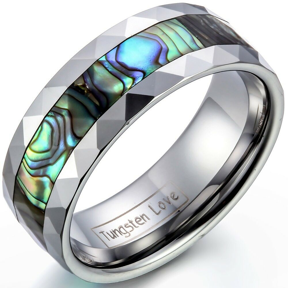 8mm Tungsten Carbide Ring W Abalone Shell Inlaid Beveled