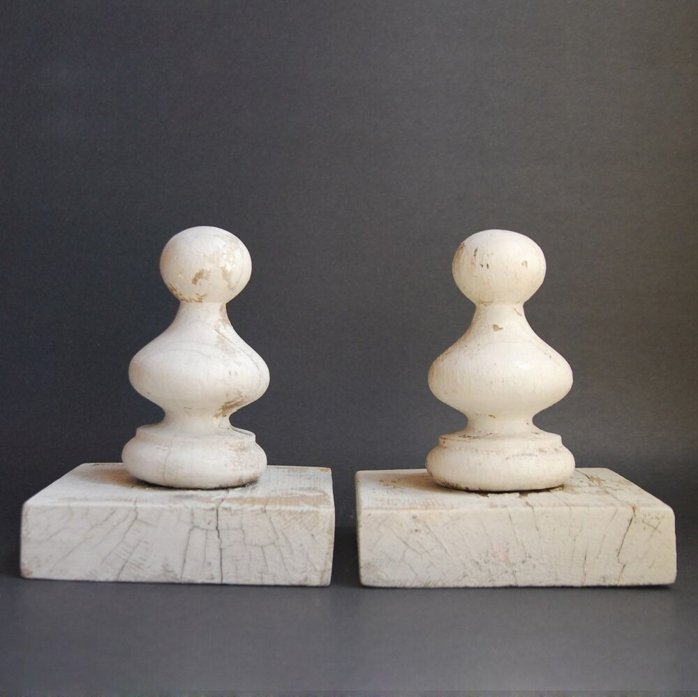 30 Off Vintage Pair White Wood Finials Architectural